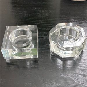Set of 2 Authentic Orrefors Crystal Votive Holders